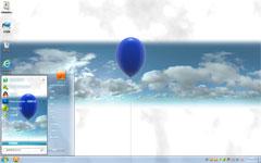 蓝色气球win7清爽主题