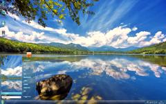蓝天白云湖泊景观Win7主题