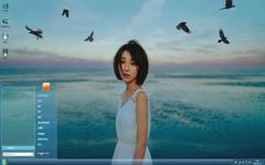 文艺少女海边清新Win7主题