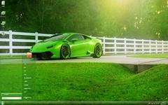 绿色天地中的帅气跑车Win7主题