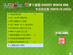 蘿卜家園 GHOST WIN10 X86 專業優化版 V2019.12(32位)