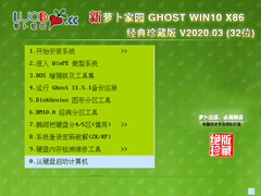 萝卜家园 GHOST WIN10 X86 经典珍藏版 V2020.03 (32位)